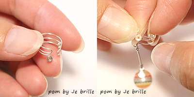 1本のワイヤーから作り上げたオリジナルのワイヤーイヤーカフ/pom by Je brilleのオリジナル手織りアクセサリー
