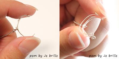 柔らかいワイヤーで出来ているので、大胆に開いてもパキッと折れる心配がありません。/pom by Je brilleのオリジナル手織りアクセサリー